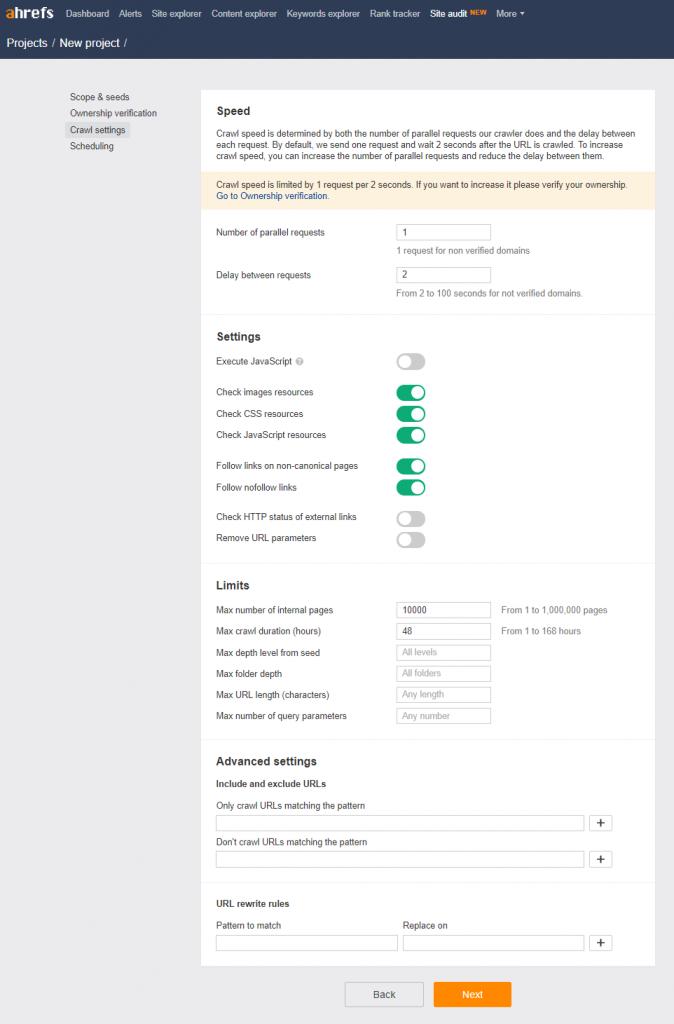 2018年4月版-Ahrefs-サイト監査の登録-Crawl-settings